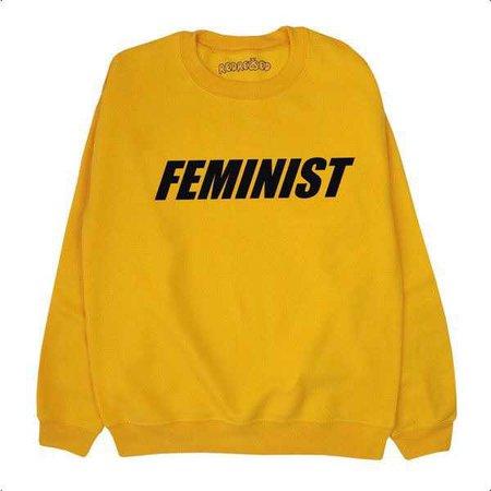 Feminist Sweater Sweatshirt Jumper Activist Black Yellow Gold