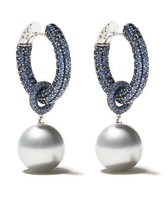 Yoko London 18kt White Gold Belgravia South Sea Pearl And Sapphire Earrings - Farfetch