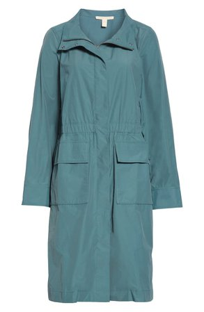 Eileen Fisher Stand Collar Organic Cotton Blend Coat blue