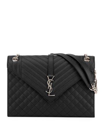 Saint Laurent Monogram YSL V-Flap Large Tri-Quilt Envelope Chain Shoulder Bag - Miroir Hardware   Neiman Marcus