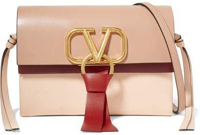Garavani V-ring Mini Color-block Leather Shoulder Bag - Red