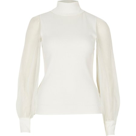 Cream mesh sleeve roll neck jumper | River Island