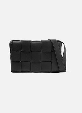 Cassette Intrecciato Leather Shoulder Bag - Black