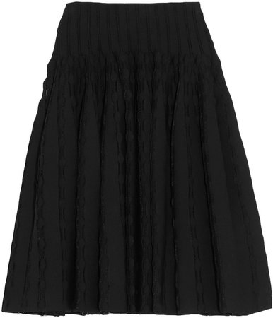 Pleated Stretch-knit Skirt
