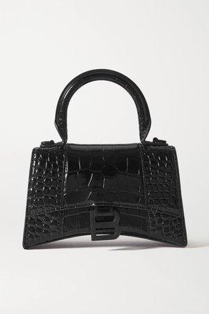 Black Hourglass mini croc-effect leather tote | Balenciaga | NET-A-PORTER
