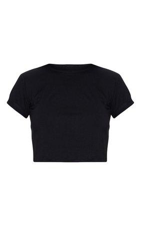 Basic Black Rose Roll Sleeve Crop T Shirt | PrettyLittleThing USA
