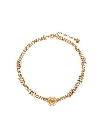 Versace Collar De Cadena Con Detalle De Medusa y Cristales - Farfetch