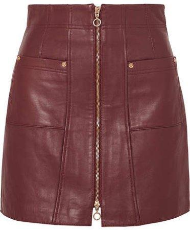 Make Me Yours Leather Mini Skirt - Burgundy
