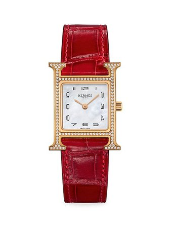 HERMÈS Heure H Diamond, Rose Gold & Alligator Strap Watch | SaksFifthAvenue