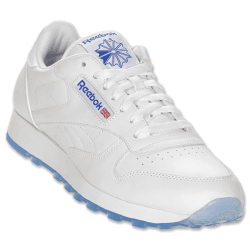 white and blue rebook sneakers