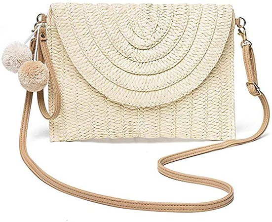 Weave Handbag, Straw Clutch Summer Evening Handbag Summer Beach Party Purse Woven Straw Bag Envelope, Beige, One Size: Handbags: Amazon.com