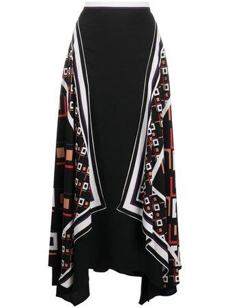 Shop black & white DVF Diane von Furstenberg handkerchief effect skirt with Express Delivery - Farfetch