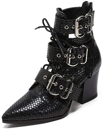 Amazon.com | MACKIN J 546-2 Women's Pointed Toe Ankle Boots Lace Up Chunky Block Heel Buckle Boots (7.5, Black) | Ankle & Bootie