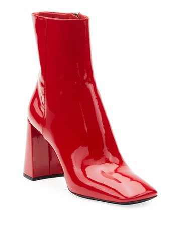 Prada Patent Leather Block-Heel Booties | Neiman Marcus