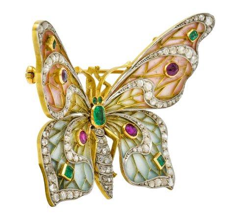 Large Art Nouveau Diamond Ruby Plique-A-Jour Enamel 18 Karat Gold Pendant Brooch For Sale at 1stDibs