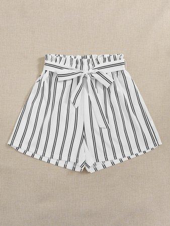 Striped Belted Paper Bag Waist Shorts