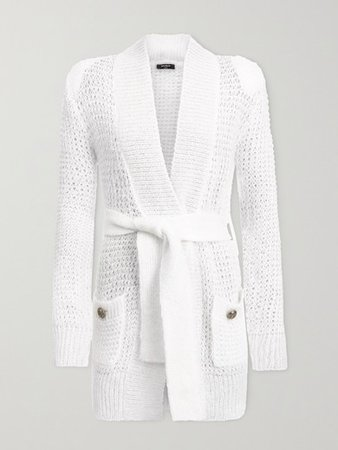 Belted Open-knit Mohair-blend Cardigan - White