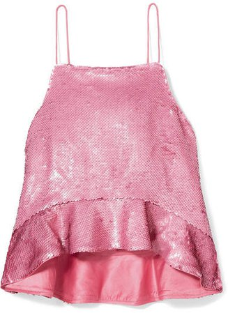 Sonora Ruffled Sequined Satin Camisole - Pink