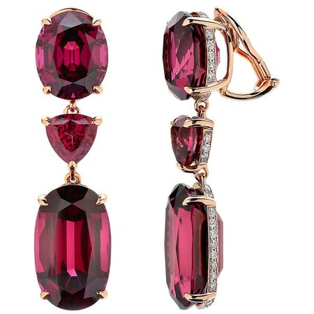 Paolo Costagli 18 Karat Rose Gold Rhodolite Garnet and Diamond Earrings For Sale at 1stDibs