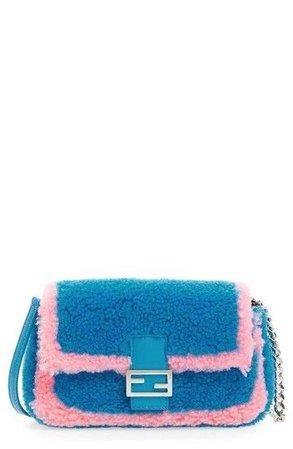 Fendi Crossbody New Micro Two-tone Genuine Blue/Pink Blue Shearling Baguette