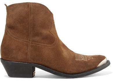 Young Embellished Embroidered Suede Ankle Boots - Brown