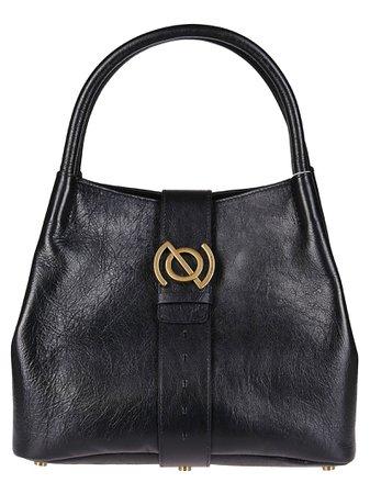 Black Leather Zoe Tote Bag