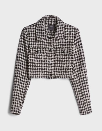 Buttoned blazer with a frayed finish - New - Bershka United States