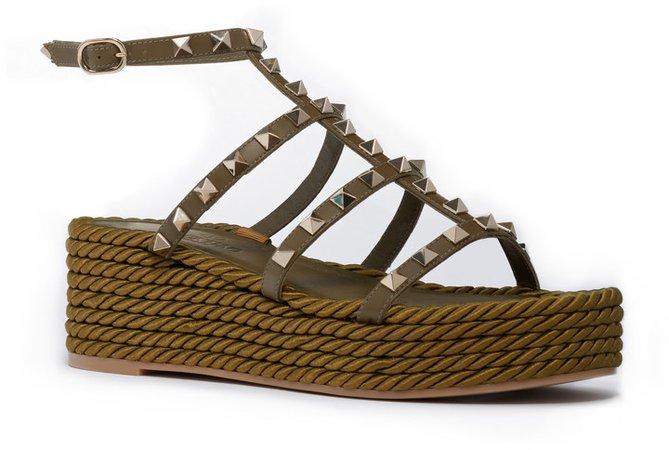 Torchon Rockstud Rope Platform Sandal