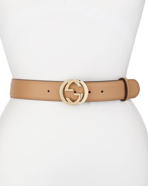 Gucci Leather Belt with GG Buckle | Neiman Marcus