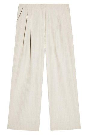 Topshop Herringbone Linen Wide Leg Trousers white