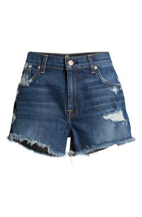 7 For All Mankind® High Waist Destroyed Cutoff Denim Shorts (Blue Monday) | Nordstrom