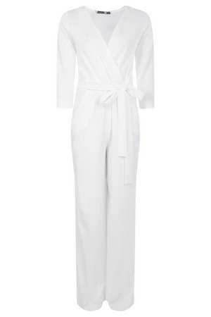 Roll Sleeve Relaxed Wide Leg Jumpsuit | Boohoo UK white