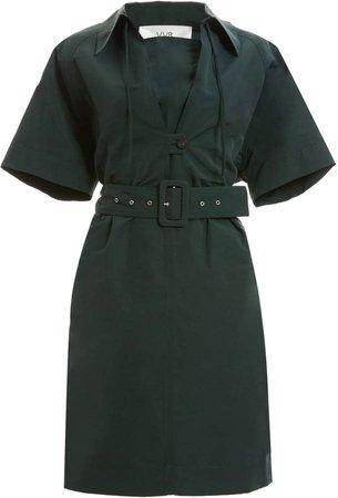 Bib-Detailed Belted Linen-Cotton Shirt Dress