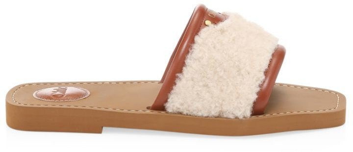 Woody Shearling & Leather Flat Sandals