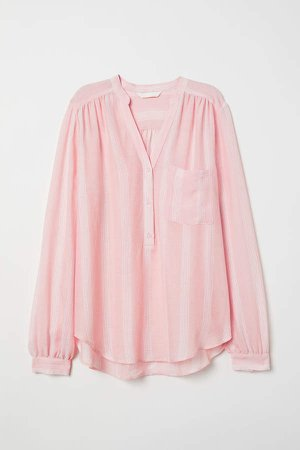 V-neck Blouse - Pink
