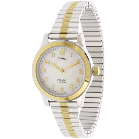 Timex - Timex Women's Essex Avenue Two-Tone Extra Long Stainless Steel Expansion Band Watch - Walmart.com - Walmart.com
