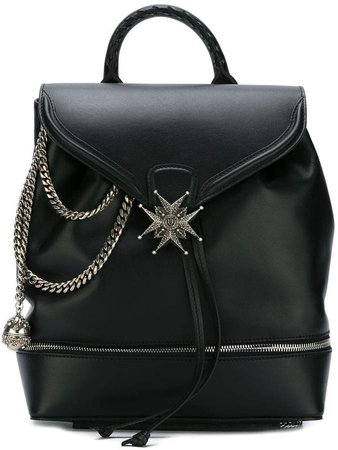 chain and medallion detail backpack