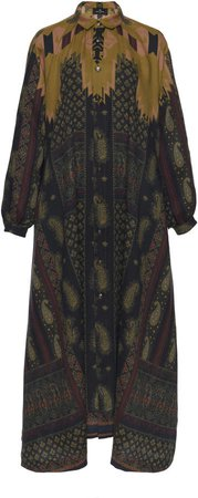 Etro Printed Wool-Silk Dress
