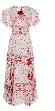 Rodarte Ruffle-Trimmed Printed Crepe Midi Dress