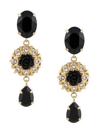 Dolce & Gabbana Embellished Rose Pendant Earrings | Farfetch.com