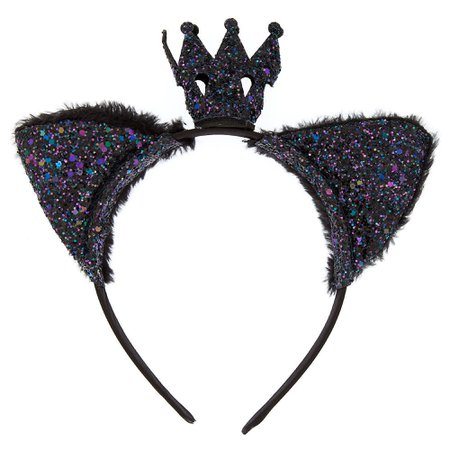 Glitter Crown Cat Ears - Black