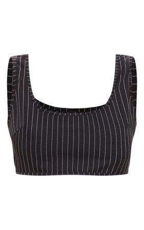 Black Pinstripe Sleeveless Scoop Neck Crop Top | PrettyLittleThing