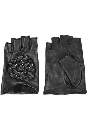 Black Diamond Studded Leather Fingerless Gloves