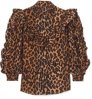 Ruffled Leopard-print Silk-georgette Blouse - Brown