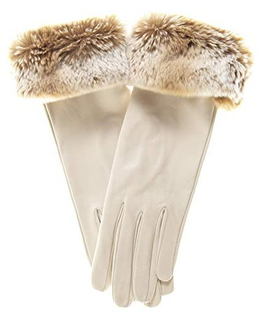Fratelli Orsini Orylag Rabbit Fur Cuff Cashmere Lined Leather Gloves