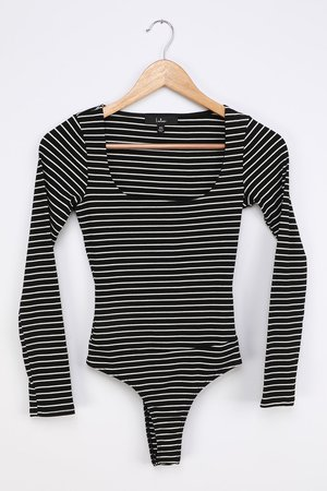 Black Striped Bodysuit - Scoop Neck Bodysuit - Long Sleeve Top - Lulus