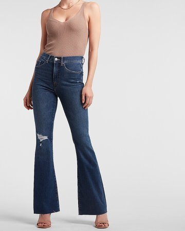 High Waisted Ripped Raw Hem Flare Jeans