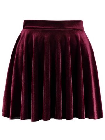Mini Velvet A Line Circle Skirt - Burgundy