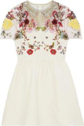 Embellished Tulle-paneled Wool And Silk-blend Cady Mini Dress