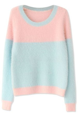 pink and blue sweater